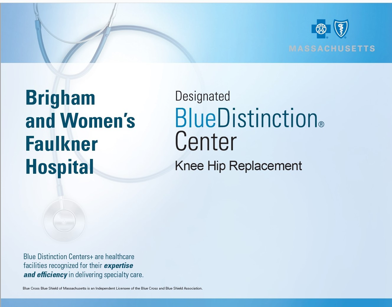 Blue Distinction Center designation for knee and hip replacement surgeries